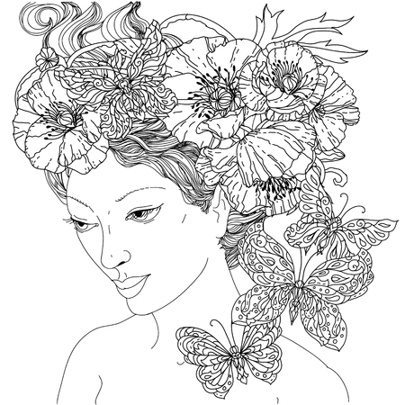 Woman and Butterflies Coloring Illustration