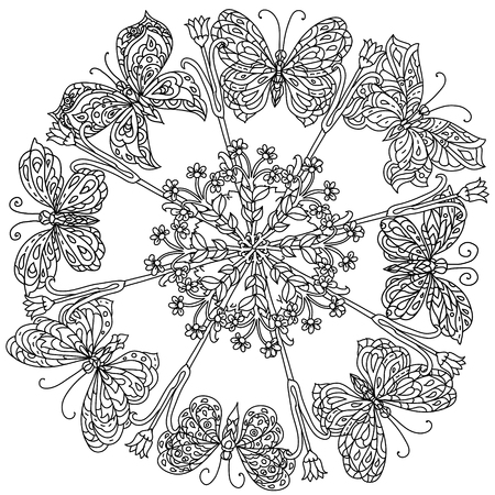 Butterflies And Blooms Mandala