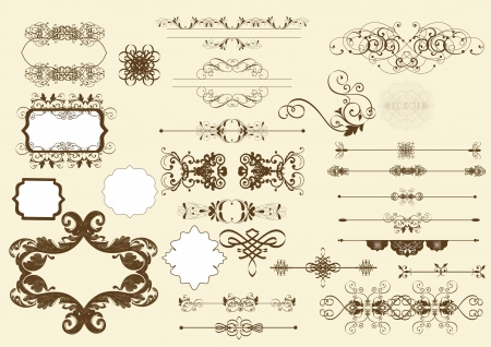 Illustration pour Set of calligraphic elements - image libre de droit