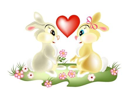 pretty couple cartoon  rabbits  fall in love. Fluffy cartoon hares