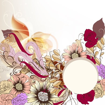 Vintage vector background with banner, hand drawn flowers and space for text