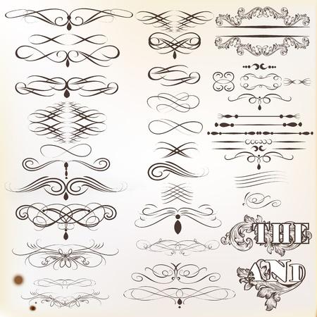 Illustration pour Vector set of calligraphic elements for design  Calligraphic vector - image libre de droit