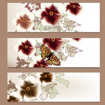 Vector set of floral brochures for your design