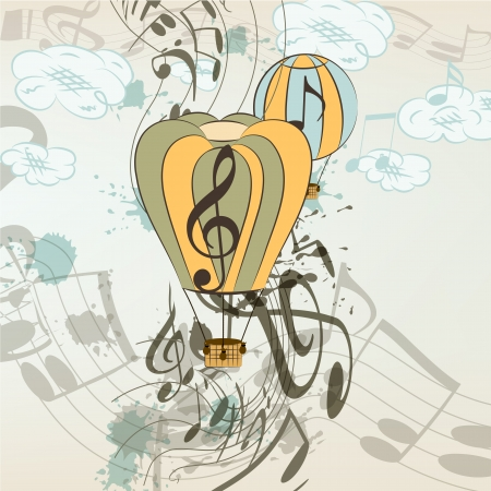 Cute conceptual music background with balloons and notes for your design