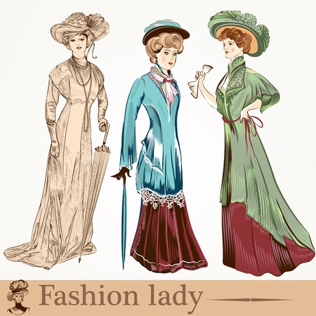 Collection of old-fashioned woman with accessories