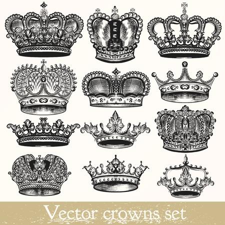 Illustration pour Collection of vector hand drawn crowns in vintage style - image libre de droit