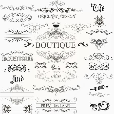 Ilustración de Set of vintage decorations elements flourishes calligraphic ornaments borders and frames retro style - Imagen libre de derechos