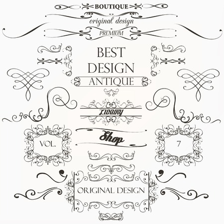Set of vintage decorations elements flourishes calligraphic ornaments borders and frames retro