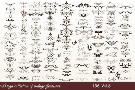 Mega collection or set of filigree drawn flourishes in vintage or retro style