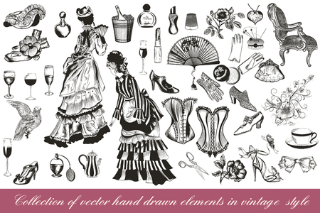 A collection or big set of hand drawn vintage styled elements lady accessories chairs flowers corsets and other