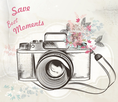 Ilustración de Illustration with vintage camera flowers and butterflies save best moments - Imagen libre de derechos