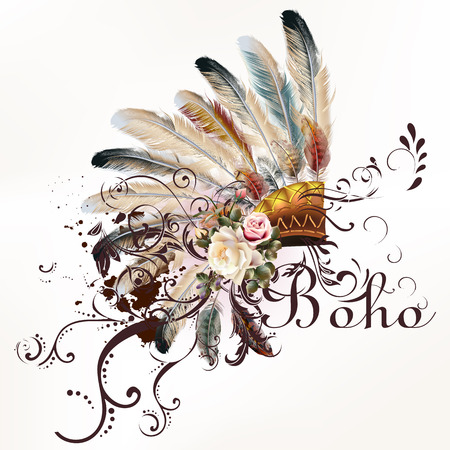 Illustration pour Boho illustration with headdress from feathers tribal  background. Ideal for T-shirt prints - image libre de droit