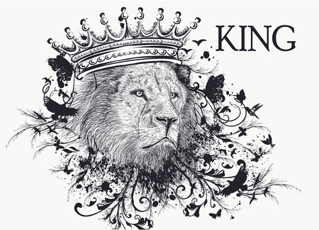Fashion T-shirt print with lion head in crown and swirls. King