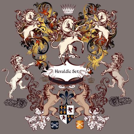 Ilustración de Heraldic collection of detailed design with coat of arms in luxury style. Swirls, unicorns, lions, shields - Imagen libre de derechos