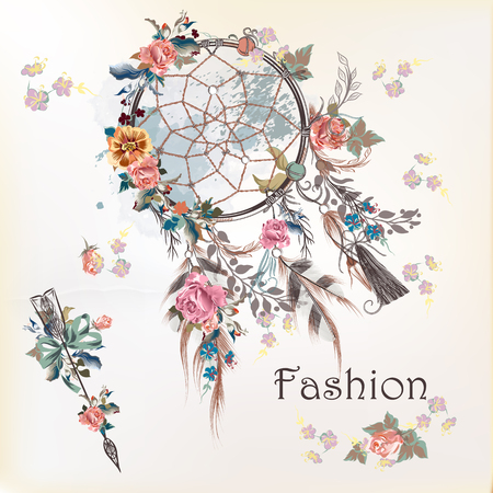 Fashion illustration with dreamcatcher and flowers. Hand drawn design