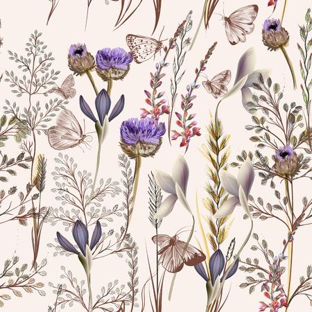 Illustration pour Flower vector pattern with plants. Vintage provance style - image libre de droit