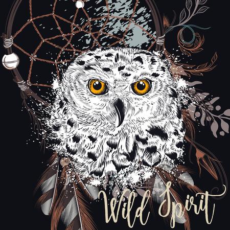 Illustration pour Fashion boho Illustration with dreamcatcher and owl. Wild spirit - image libre de droit