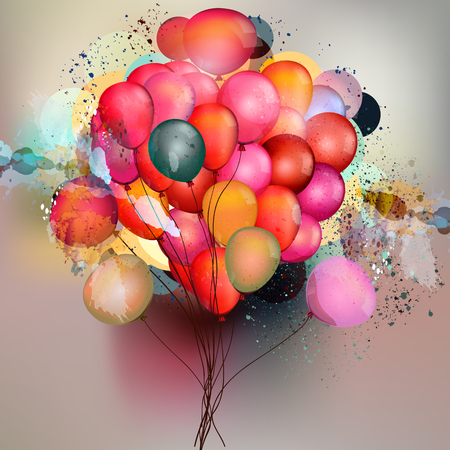 Illustration pour Abstract vector background with balloons and ink colored spots in psychedelic style - image libre de droit