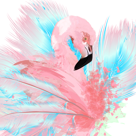 Illustration pour Beautiful vector illustration with drawn pink flamingo and blue feathers. - image libre de droit