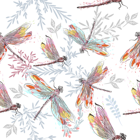 Illustration pour Beautiful pattern or background with dragonfly  in watercolor style painted by spots - image libre de droit