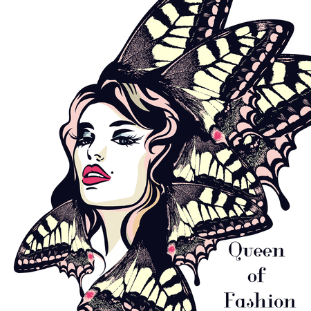 Illustration pour Fashion vector  illustration, portrait of young butterfly woman with beautiful lips and eyes - image libre de droit