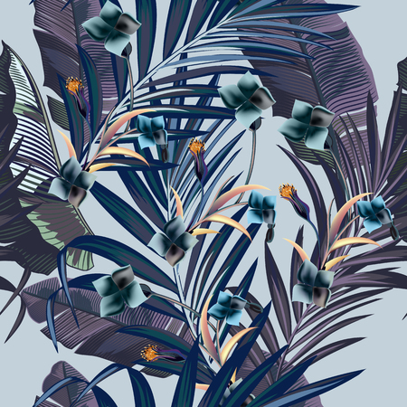 Illustration for Fashion vector pattern with tropical branches in vintage style - Royalty Free Image