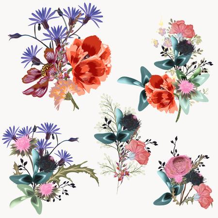 Illustration pour Collection of vector realistic flowers for design - image libre de droit