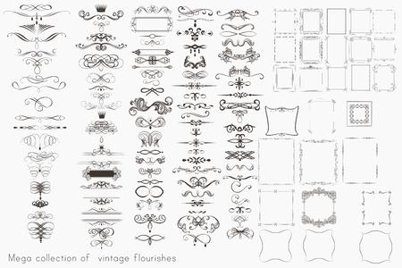 Illustration pour Collection of vector calligraphic elements, flourishes and page decorations, mega set for design - image libre de droit