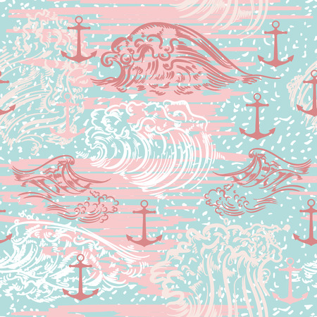 Illustration pour Ocean summer vector pattern with waves and anchors - image libre de droit