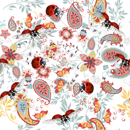 Photo pour Floral seamless pattern with ethnic ornament, lady bug and florals - image libre de droit