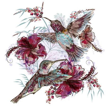Illustration pour Fashion vector floral illustration with hummingbirds and hibiscus flowers - image libre de droit