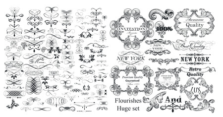 Illustration pour Big collection of vector flourishes and calligraphic elements in vintage style - image libre de droit