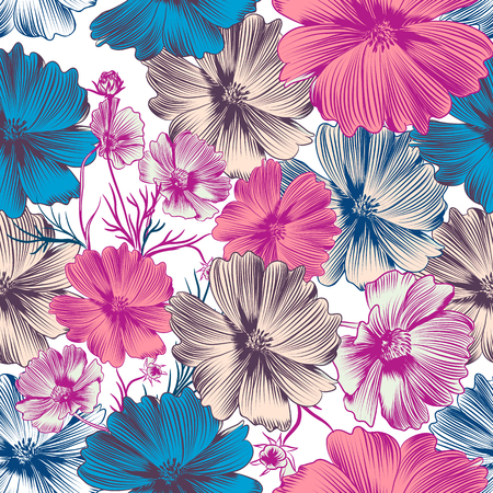 Illustration for Floral vector pattern with pink cosmos and blue flowers - Royalty Free Image