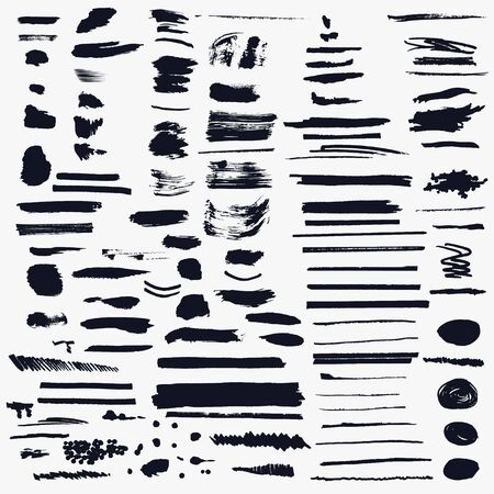Illustration for Mega big collection of vector shabby, grunge, ink pen strokes for brushes - Royalty Free Image