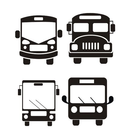 Illustration for bus icon set vector illustration - Royalty Free Image