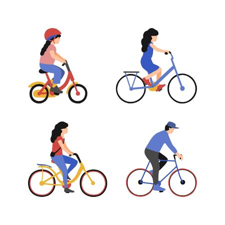 Illustration pour Set of woman, man and children on bicycles. Group of people riding bikes. Vector collection. Flat style - image libre de droit