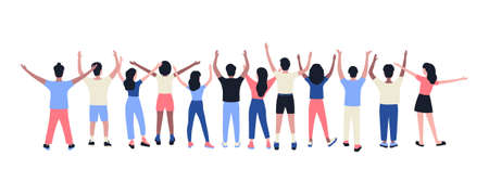 Illustration pour Illustration of people with hands up under. Vector illustration in flat style - image libre de droit