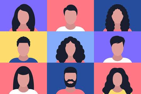 Illustration pour Set of different people portraits. Vector illustration in a flat style - image libre de droit