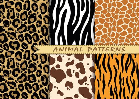 Photo pour seamless patterns set with animal skin texture - image libre de droit