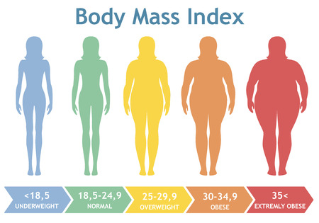 Photo pour Body mass index vector illustration from underweight to extremely obese. Woman silhouettes with different obesity degrees. Female body with different weight. - image libre de droit