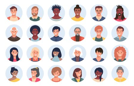 Illustration for Set of persons, avatars, people heads of different ethnicity and age in flat style. Multi nationality social networks people faces collection. - Royalty Free Image