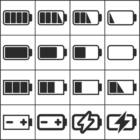Set of flat simple web icons (charge level indicators, batteries, accumulators ), vector illustration