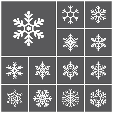 Set of flat simple web icons (winter snowflakes ), vector illustration