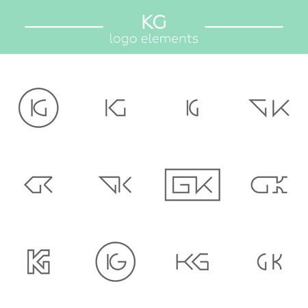 Vector monogram of K and G letters. Template for logo of an architector or other occupation