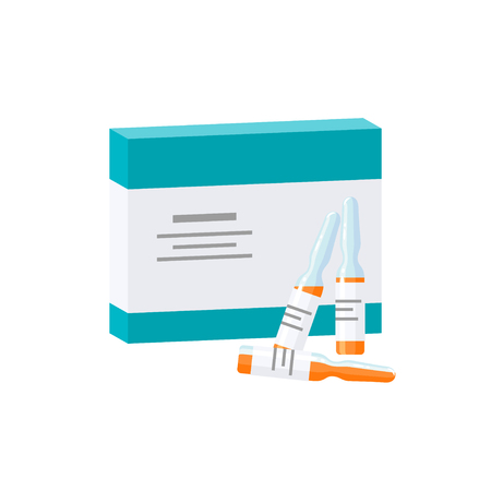 Vaccination concept. Packaging box for ampoules, vector illustration in flat style
