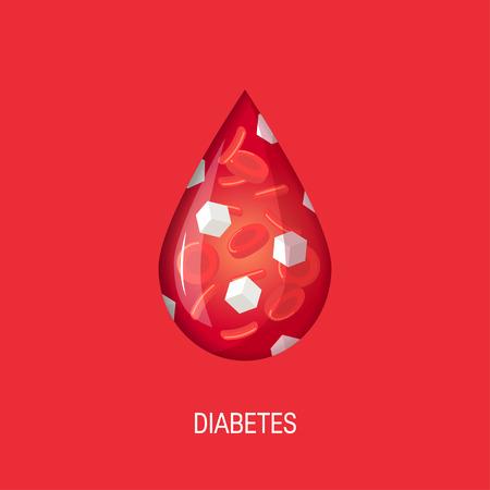 Illustration pour Diabetes concept. Glucose in the bloodstream. Vector illustration in flat style - image libre de droit