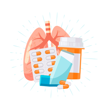 Illustration pour Treatment for pulmonary diseases. Vector illustration in flat style for medical articles, posters, web banners, infographics etc. - image libre de droit