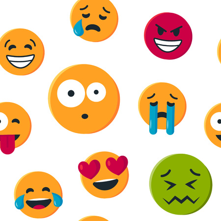Illustration pour Seamless pattern with funny yellow emoticons. Vector illustration isolated on white background - image libre de droit