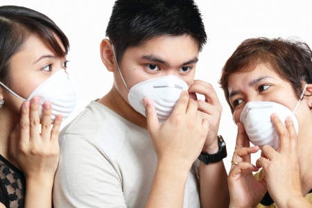 Portrait of people wearing protective mask
