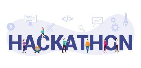 Ilustración de hackathon technology programming startup concept with big word or text and team people with modern flat style - vector illustration - Imagen libre de derechos